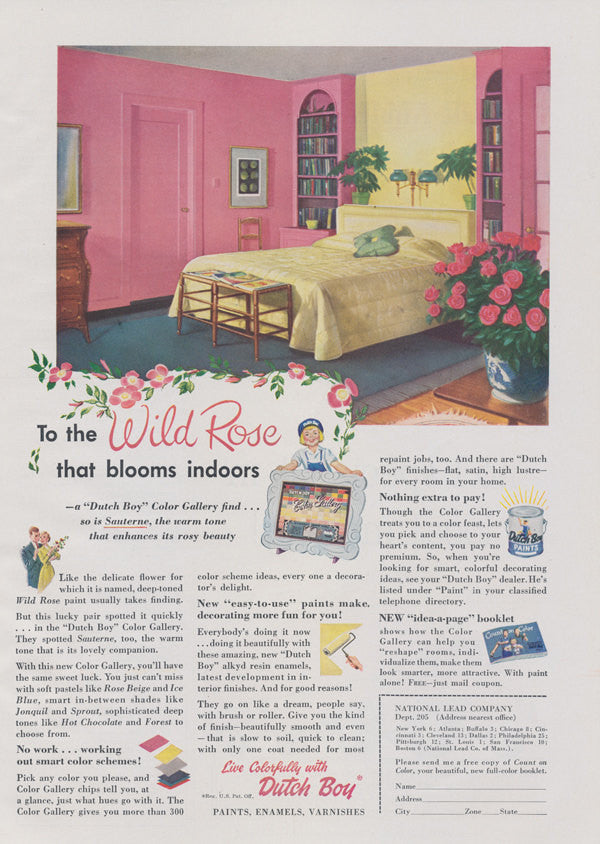 1950s Dutch Boy Paint Ad Mid Century Home Interior Design Pink Bedroom Illustration Vintage Advertising Wall Art Decor