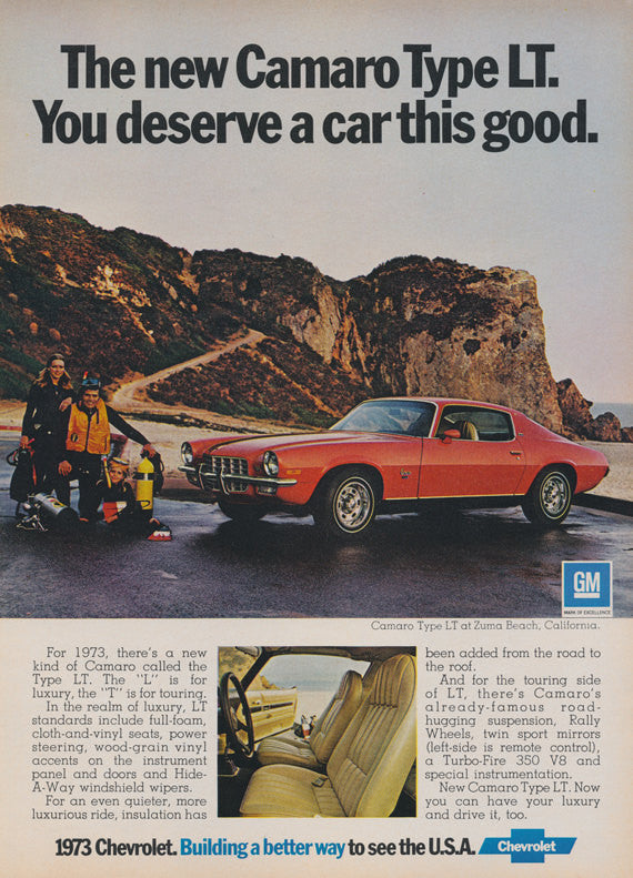 1973 Chevy Camaro Type LT Car Ad Vintage Advertising Chevrolet Red Muscle Car & Scuba Diving Family Zuma Beach California Print Wall Art
