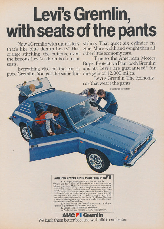 1972 AMC Levi Gremlin Car Photo Ad Automobile with Blue Denim Levi's Upholstery Vintage Advertising Art Collectible Print Wall Decor