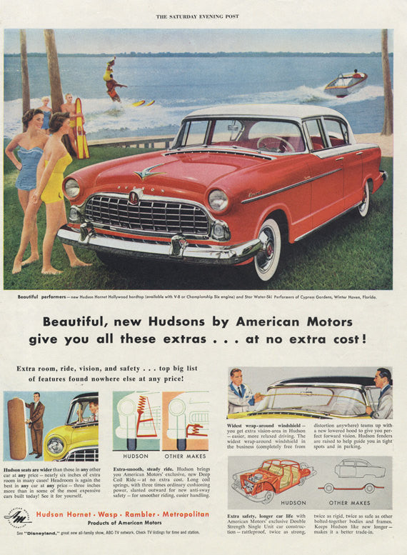 1955 Hudson Hornet Wasp Rambler & Metropolitan Classic Cars Ad Red Automobile Girls at Beach Ilustration Print Vintage Advertising Wall Art