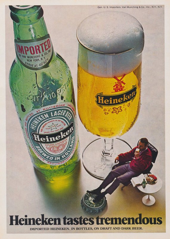 "1972 Heineken Beer Ad Man Relaxing in Chair Photo ""Tremendous Taste"" Vintage Advertising Print Surreal Wall Art Decor - Gift for Dad"