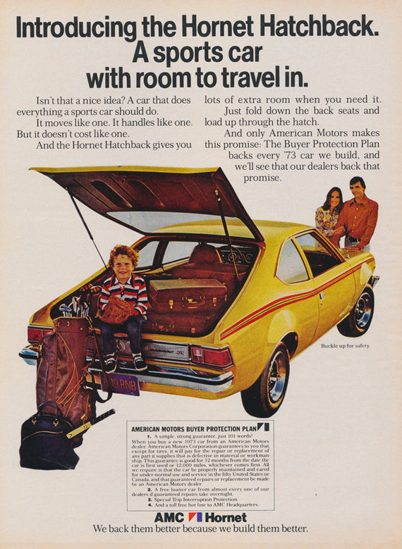 1973 AMC Hornet Hatchback Yellow Sports Car Photo Ad American Motors 70s Vintage Advertising Print Wall Art Decor