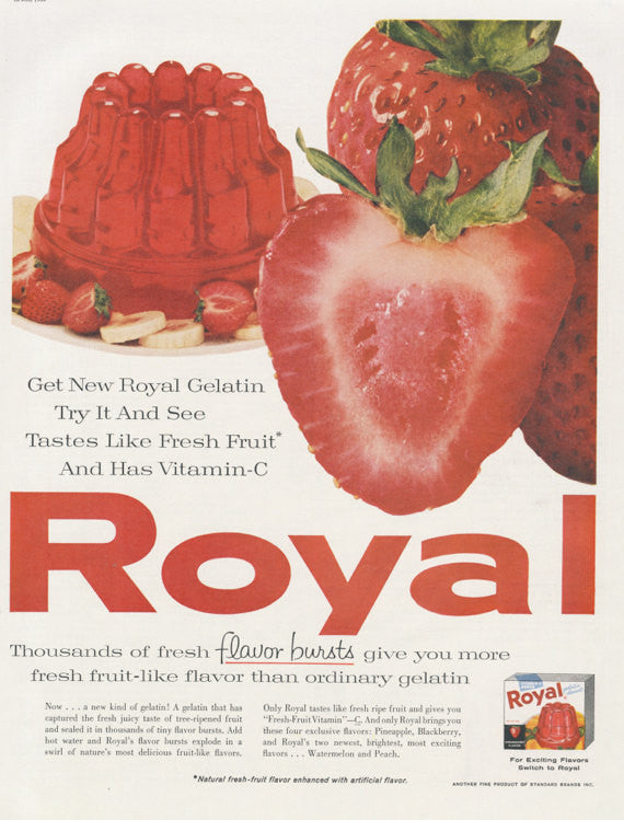 1960 Royal Strawberry Gelatin Ad Fruit Jell-O Mold Photo Vintage Advertisement Retro Red Kitchen Wall Art Decor