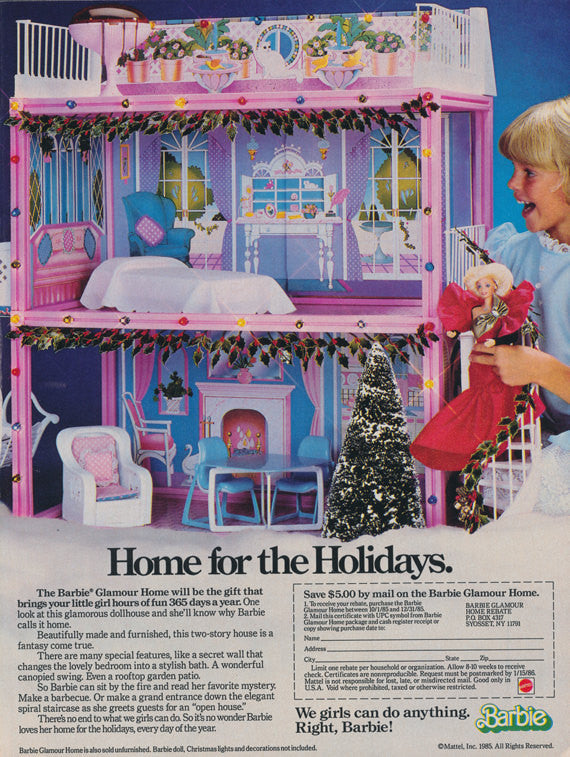1985 Barbie Glamour Home Ad Vintage Advertising Dream House 1980s Christmas Toy Photo Collectible Print Wall Art Decor