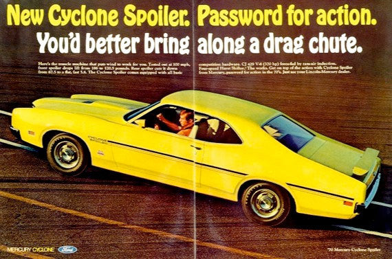 1970 Ford Mercury Cyclone Spoiler 2 Door Coupe Ad Bright Yellow Muscle Car Vintage Advertising Print Wall Art Decor
