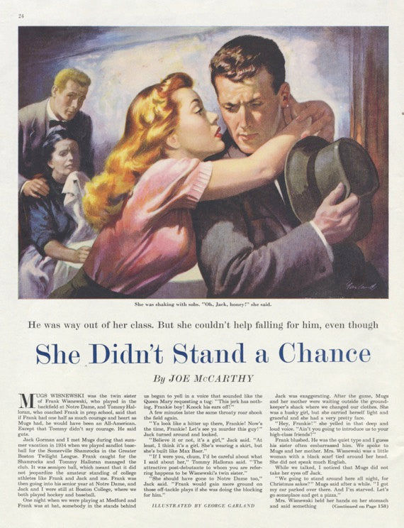 "1950s Magazine Illustration Art ""She didn't stand a chance"" Dramatic Wall Decor Print"