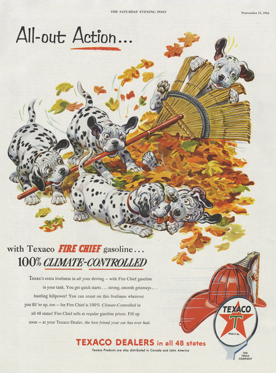 1954 Texaco Fire Chief Gasoline Ad Dalmatian Dogs Illustration Cute Vintage Advertising Collectible Auto Art Print Fall Autumn Decor