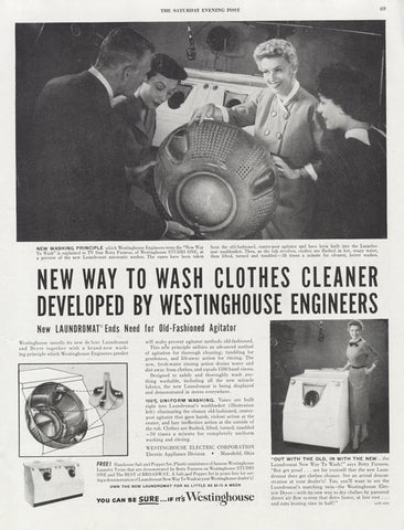 1950s Westinghouse Washer Ad Black & White Appliance Photo Vintage Advertisement Print Laundry Room Wall Art Decor
