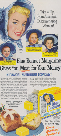 1950s Blue Bonnet Margarine Ad Vintage Advertising Illustrated Print Retro Kitchen Wall Art Decor