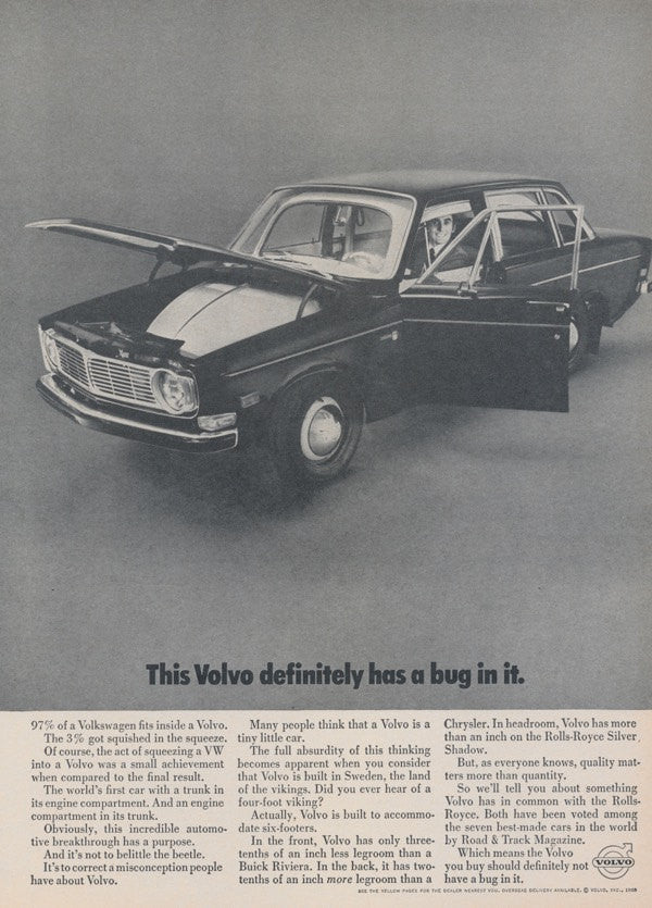 1968 Volvo Car Photo Ad Vintage Advertising Volkswagen Bug Black and White Print Wall Art Decor