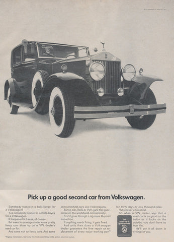 1969 Volkswagen Car Ad Vintage Advertising Black and White Rolls-Royce VW Fancy Automobile Photo Wall Decor Art Print