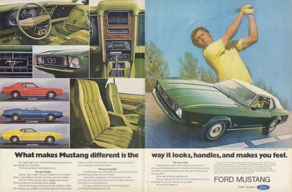 1973 Ford Mustang Car Ad Golfer Photo Vintage Advertising Wall Art Decor Print