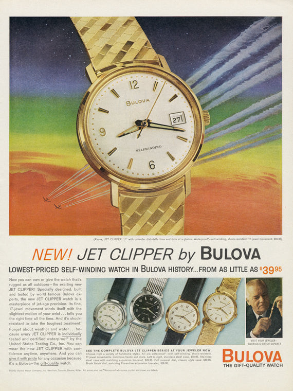 Bulova Jet Clipper Self-Winding Watch Ad Original 1960s Vintage Advertising Jewelry Print Colorful Rainbow Wall Art