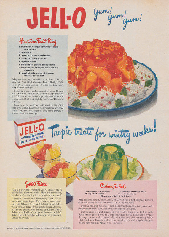 1950 Jell-O Gelatin Ad Hawaiian Fruit Ring Salad Recipe Vintage Advertising Retro Kitchen Wall Art Print