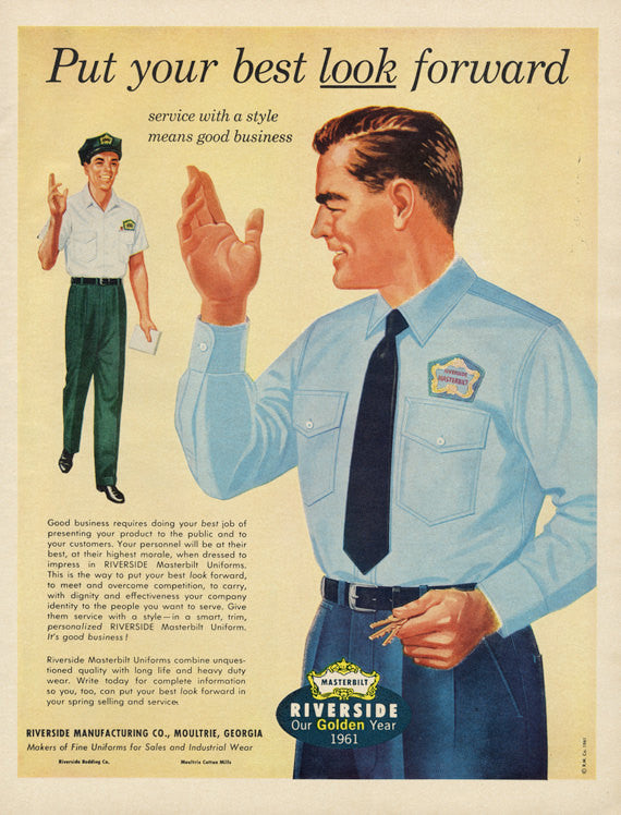 1960s Masterbilt Uniforms Ad Riverside Manufacturing Co. Mad Men Era Vintage Advertising Men's Fashion Wall Art Decor Boutique Print