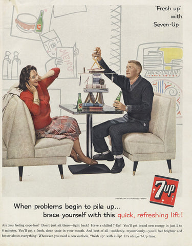 1961 Seven-Up Cola Ad Couple Playing Jenga Fun Photo Mad Men Era Vintage Advertising 7-Up Soda Pop Retro Diner Wall Art Decor