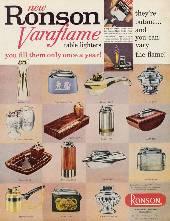 1960s Ronson Varaflame Table Lighters Ad Mad Men Era Vintage Advertising Wall Art Print Decor