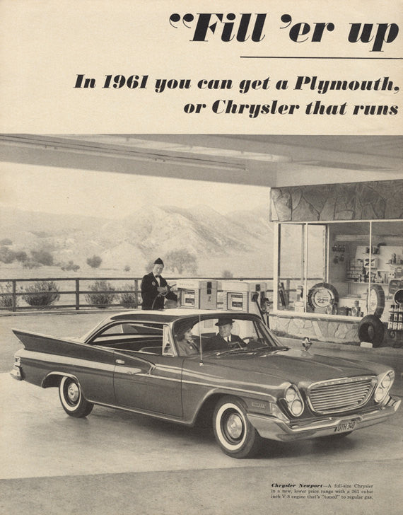 1961 Chrysler Newport Car at Gas Station Black & White Photo Lancer, Plymouth Automobiles Vintage Advertising Wall Art Print