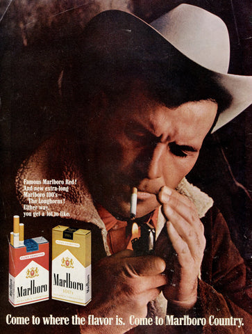 1960s Marlboro Man Ad  Sexy Cowboy Photo Vintage Cigarette Advertisement Print Rustic Cabin Wall Art Decor