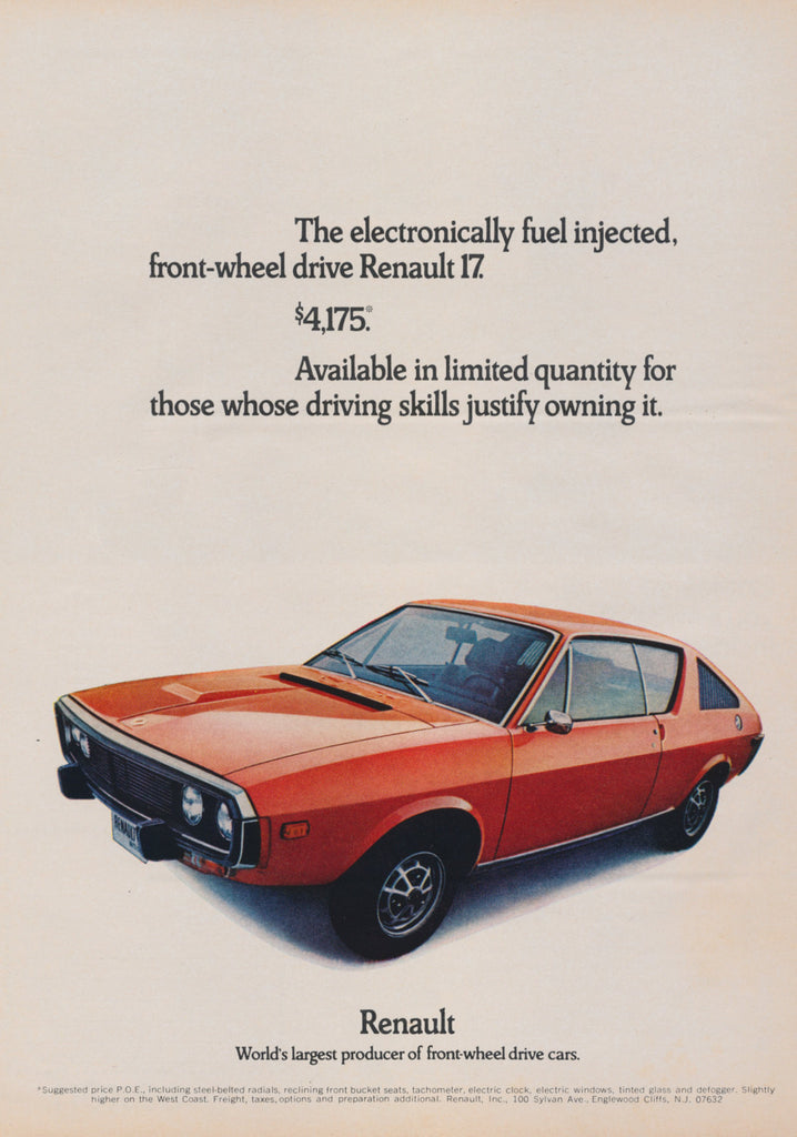 1972 Renault 17 Orange Car Ad Vintage Advertising Wall Art Print