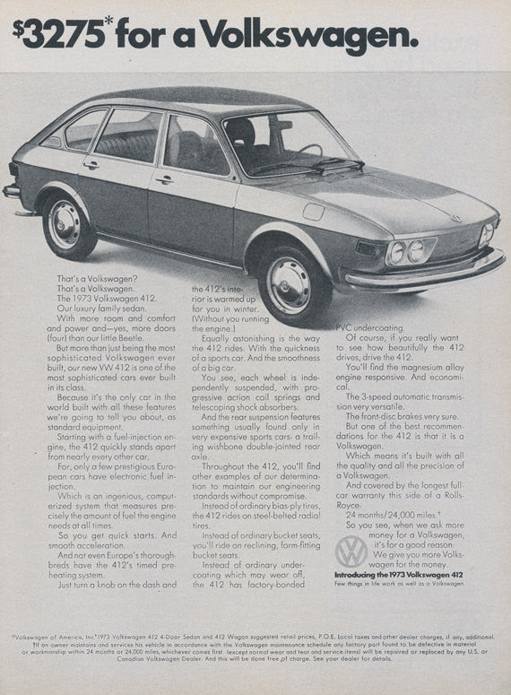 1973 Volkswagen 412 Wagon Original Car Ad 2-Page VW Vintage Advertising Automobile Photo Print Wall Art Decor