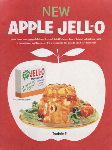 1950 Apple Jell-O Mold Ad Weird Food Photo Vintage Advertising Retro Kitchen Red Wall Art Print