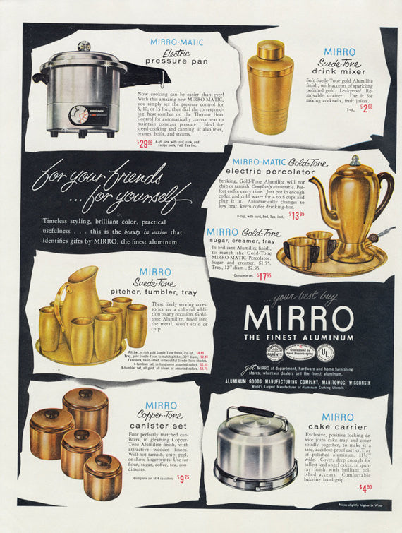 1955 Mirro Aluminum Electric Cookware Appliances Servingware Ad 1950s Vintage Advertising Retro Kitchen Wall Art Print