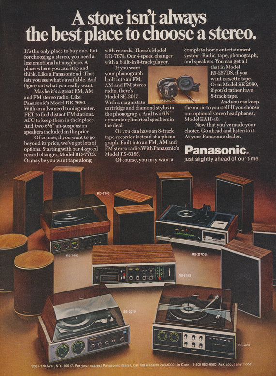 1976 Panasonic Stereos Ad Vintage Music Technology Advertisement Wall Art Decor