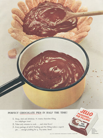 1955 Jell-O Chocolate Pudding & Pie Filling Ad Sweet Treat Vintage Advertising Retro Kitchen Wall Art Decor