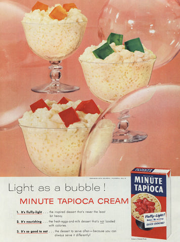 1955 Minute Tapioca Cream with Jell-O Cubes Ad Vintage Advertising Weird Food Print Dessert Photo Kitsch Kitchen Wall Art Decor