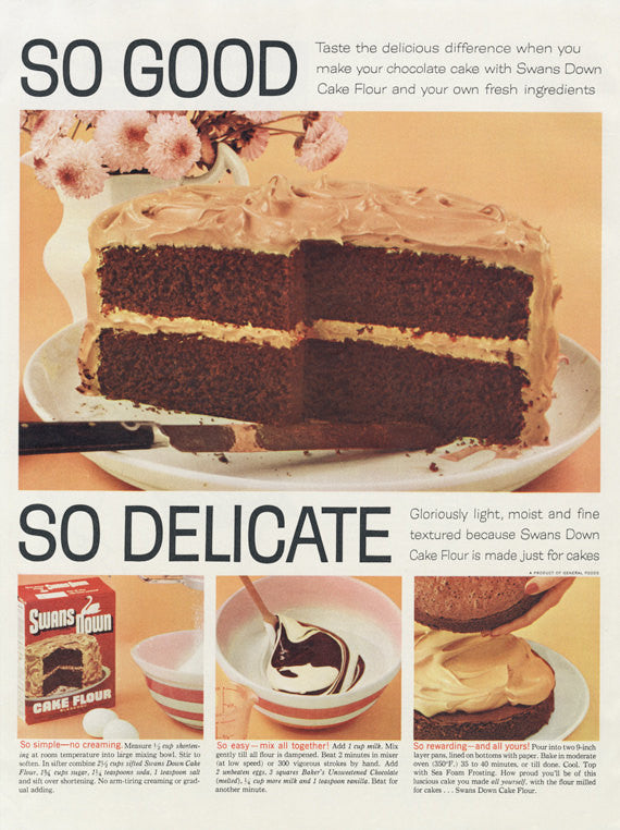 1955 Swans Down Flour Ad Chocolate Cake Dessert Photo Sweet Treat Vintage Advertising Kitchen Wall Art / Bakery Print