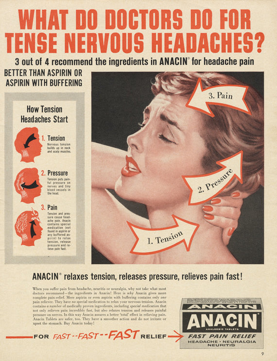 1960 Anacin Headache Medicine Ad Woman in Pain Red & Black Illustration Vintage Advertisement Bathroom / Doctor's Office Wall Art Decor