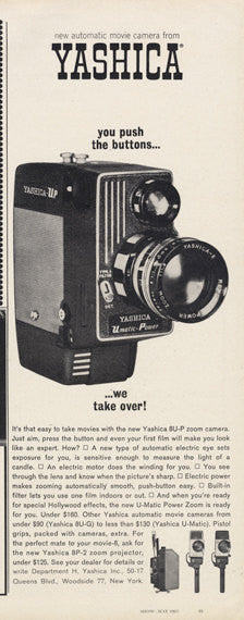 1963 Yashica UP Movie Camera Ad Film Technology Black & White Vintage Advertising Print Wall Art Decor