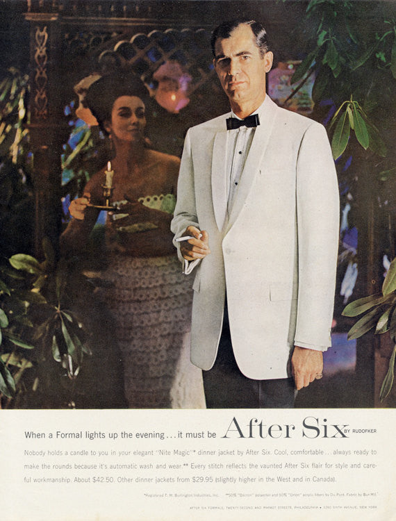 1963 After Six Men's Formal Wear by Rudofker Man in White Tuxedo Photo Mad Men Era Vintage Advertising Men's Fashion Wall Art Boutique Print