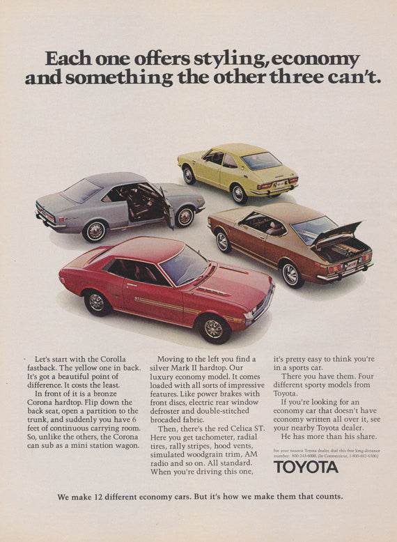 1971 Toyota Car Ad Corolla Fastback, Corona Hardtop, Mark II Hardtop, Celica ST Automobile Photo Vintage Advertising Art Print
