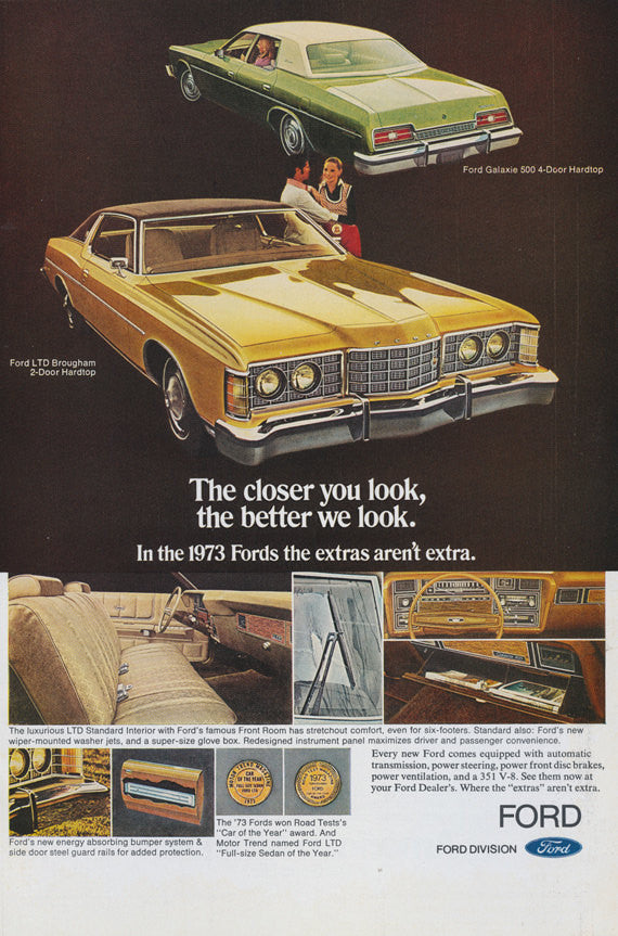 1973 Ford LTD Brougham & Galaxie 500 4-Door Hardtop Classic Car Ad Automobile Vintage Advertising 1970s Photo Print, Wall Hanging