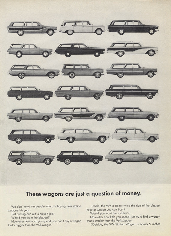1963 Volkswagen Station Wagon Ad VW Car Photo Vintage Advertising Wall Art Print