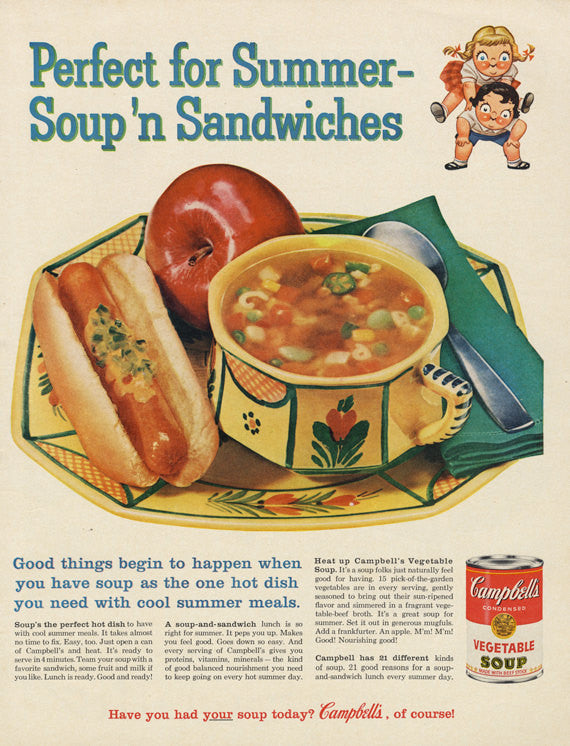 1960 Campbell's Soup OR Schlitz Beer Ad Mad Men Era Vintage Advertising Food Art Print Retro Kitchen Wall Decor