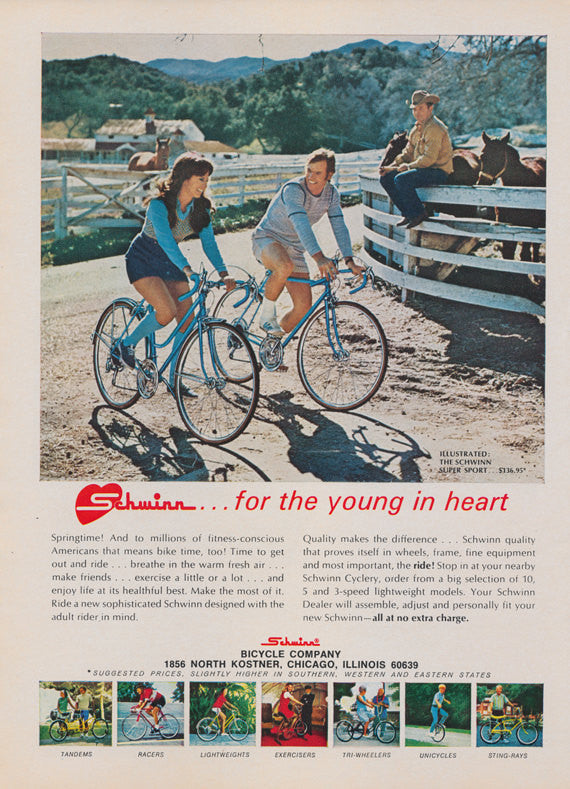 1972 Schwinn Bicycle Ad Super Sport Bikes for Men & Women Country Western Photo Vintage Advertising Art Print Wall Decor