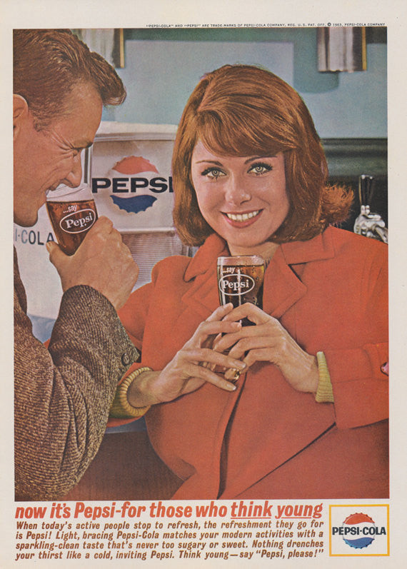1963 Pepsi Cola Young Generation Ad Retro Couple Photo Vintage Soda Pop Advertisement Print Wall Art Decor
