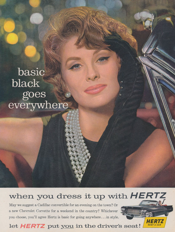1963 Hertz Rent-A-Car Ad Woman in Black Photo Mad Men Era Vintage Advertising Wall Art Print Decor