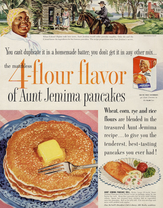 1954 Aunt Jemima Pancakes Ad Illustrated Vintage Advertising Print Retro Kitchen Wall Art Decor