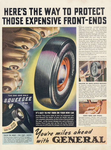 1939 General Tires Ad Auto Graphic Color Illustration Vintage Advertising Garage Art Print Man Cave Wall Hanging
