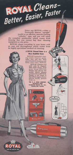 1949 Royal Vacuum Cleaner Ad Housewife Cleaning Illustration Vintage Household Appliance Advertisement Print Red & Black Wall Art Decor