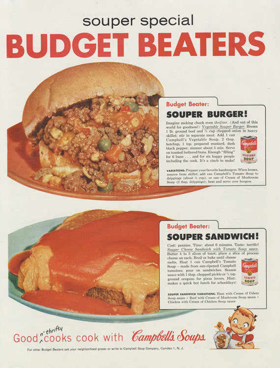 1958 Campbell's Soup Ad Souper Burger & Sandwich Recipes Food Photo Print Vintage Advertising Art Retro Kitchen Decor