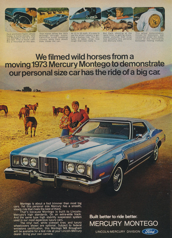 1973 Ford Mercury Montego Car Ad Wild Horses Vintage Automobile Photo Advertising Print Wall Art Decor