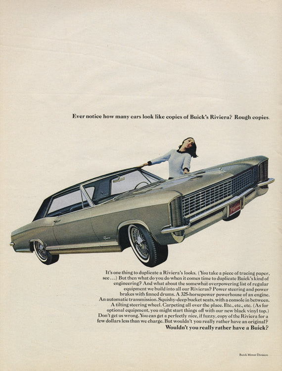 1965 Buick Riveria Ad Green Car Photo Vintage Advertisement Wall Art Decor Print
