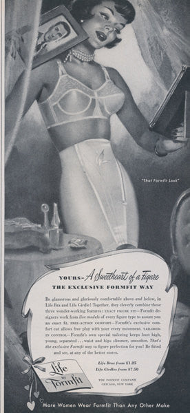 1950 Formfit Life Bra & Girdle Ad Black and White Lingerie Illustration Vintage Advertising Print, Boutique / Boudoir Wall Art Decor