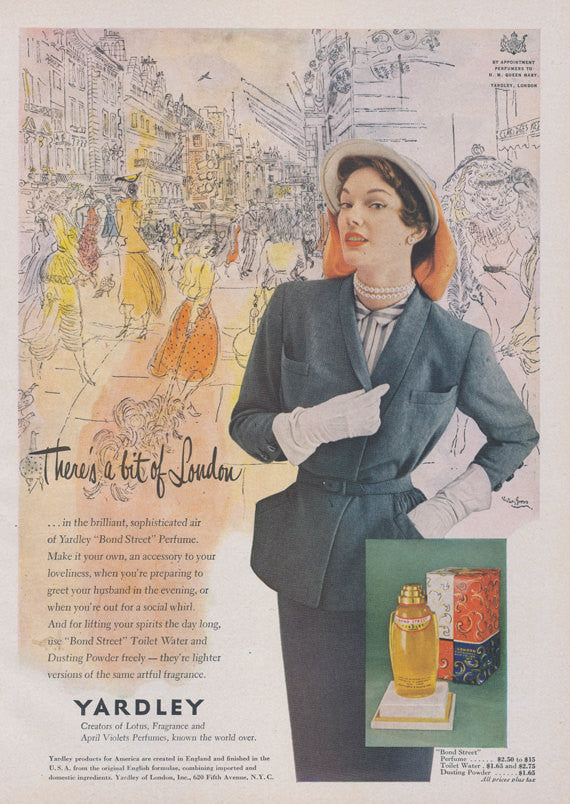 1950 Yardley Bond Street Perfume Ad Haute Couture London Fragrance Vintage Advertising Boudoir Vanity Powder Room Wall Art Decor