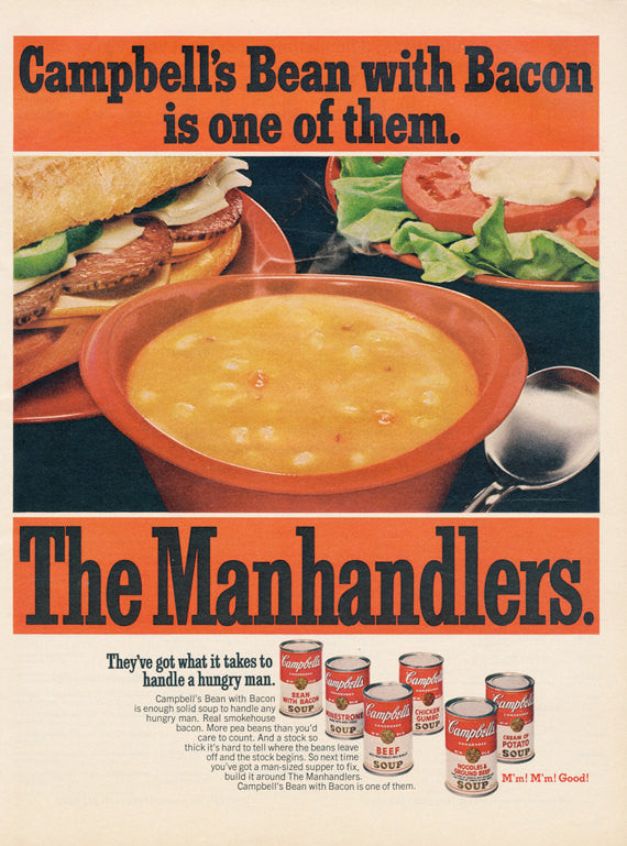 "Campbell's Soup Ad ""The Manhandlers"" Original 1968 Vintage Advertising Food Photo Retro Kitchen Wall Art Decor Print"